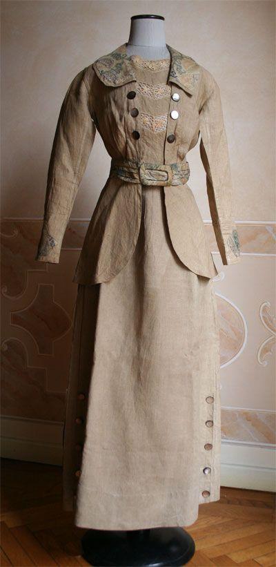 Linen suit 1914. World war one fashion.